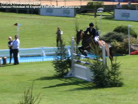 Sophie Ashton-Rickardt winning the Harcour Hickstead All England 1.10m Amateur Championship